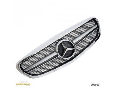 Решётка радиатора в стиле AMG С63 Chrome Silver на Mercedes C класс W205 Elegance / Classic