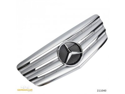 Решётка радиатора AMG Look Silver Chrome на Mercedes E класс W211 рестайл