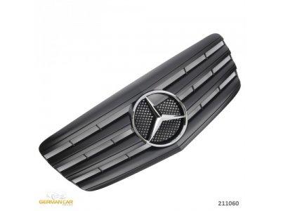Решётка радиатора AMG Look Matt Black Var2 на Mercedes E класс W211 рестайл