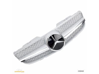 Решётка радиатора AMG SL65 Look Silver Chrome на Mercedes SL класс R230 рестайл