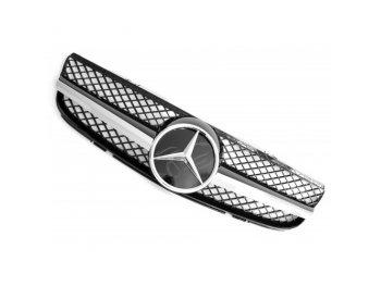 Решётка радиатора AMG SL65 Look Black Chrome на Mercedes SL класс R230 рестайл
