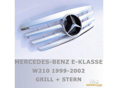 Решётка радиатора AMG Look Silver Chrome на Mercedes E класс W210 рестайл