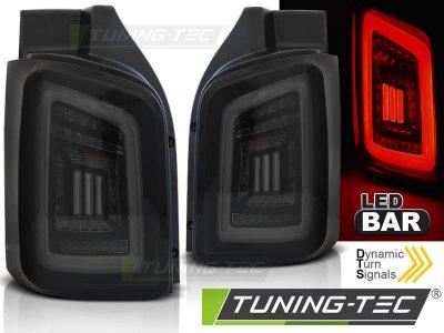 Задние фонари DynamicBar Black White Smoke на VW Transporter T5