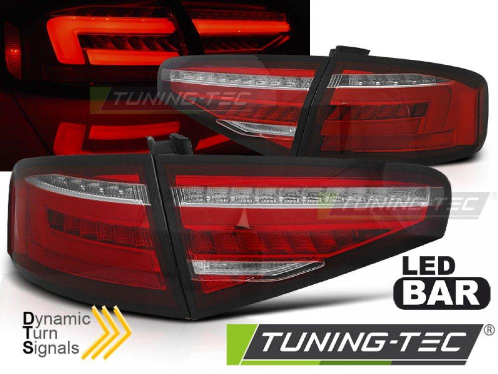 Задние фонари с динамическим поворотником красные на Audi A4 B8 седан