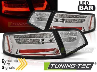 Задние фонари LED BAR Chrome на Audi A6 C6 Sedan рестайл
