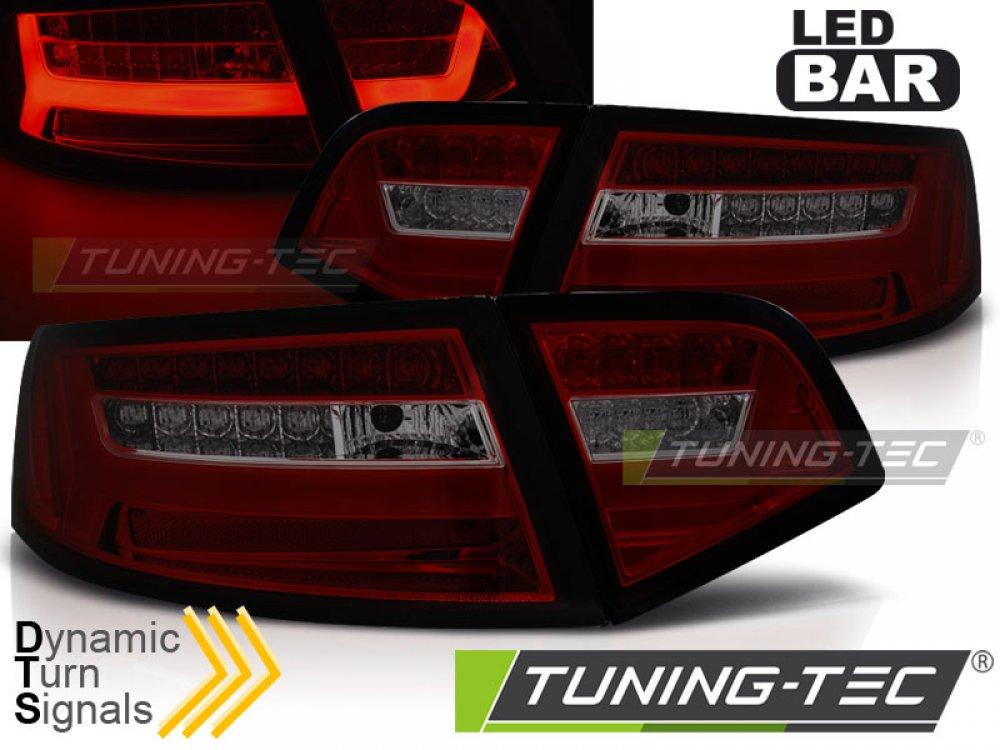 Задние фонари LED BAR Red Smoke на Audi A6 C6 Sedan рестайл