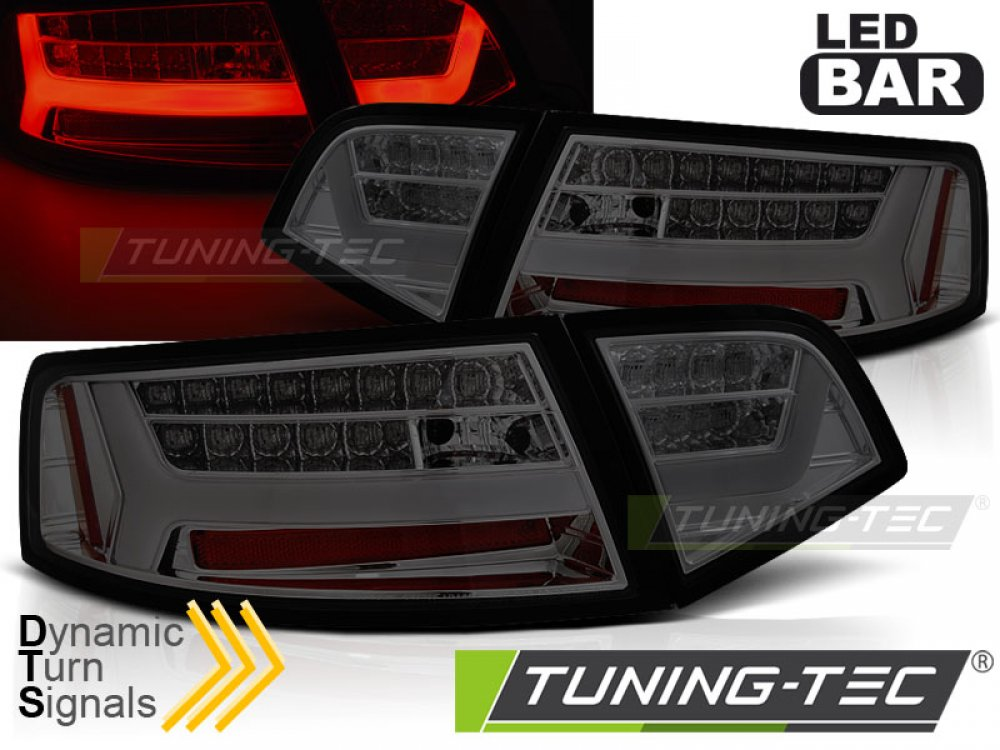 Задние фонари LED BAR Smoke на Audi A6 C6 Sedan рестайл