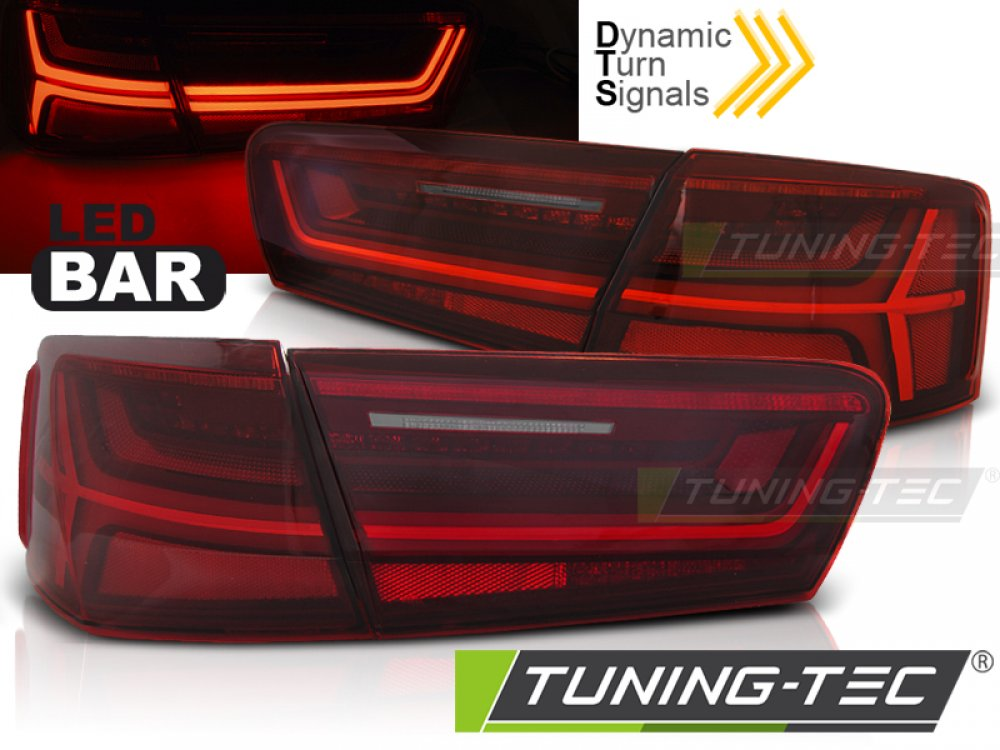 Задние фонари DynamicTurn LED Red Crystal на Audi A6 C7