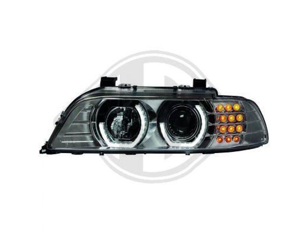 Передняя альтернативная оптика 3D Angel Eyes LED Chrome для BMW 5 E39