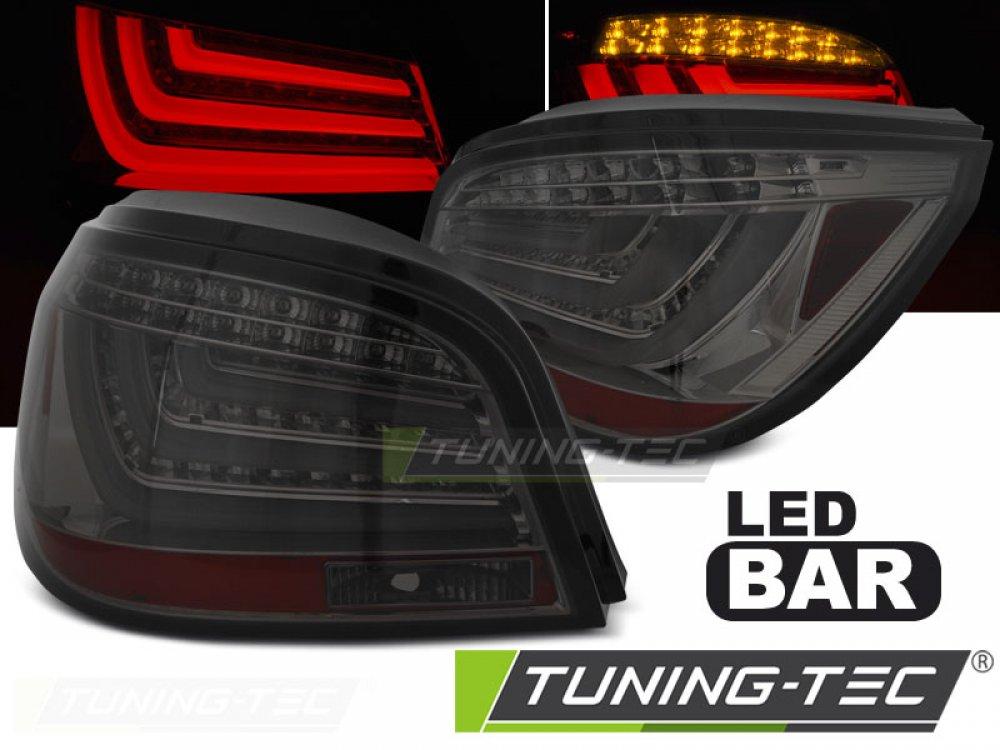 Задние диодные фонари NeonTube тёмные на BMW 5 E60 LCI