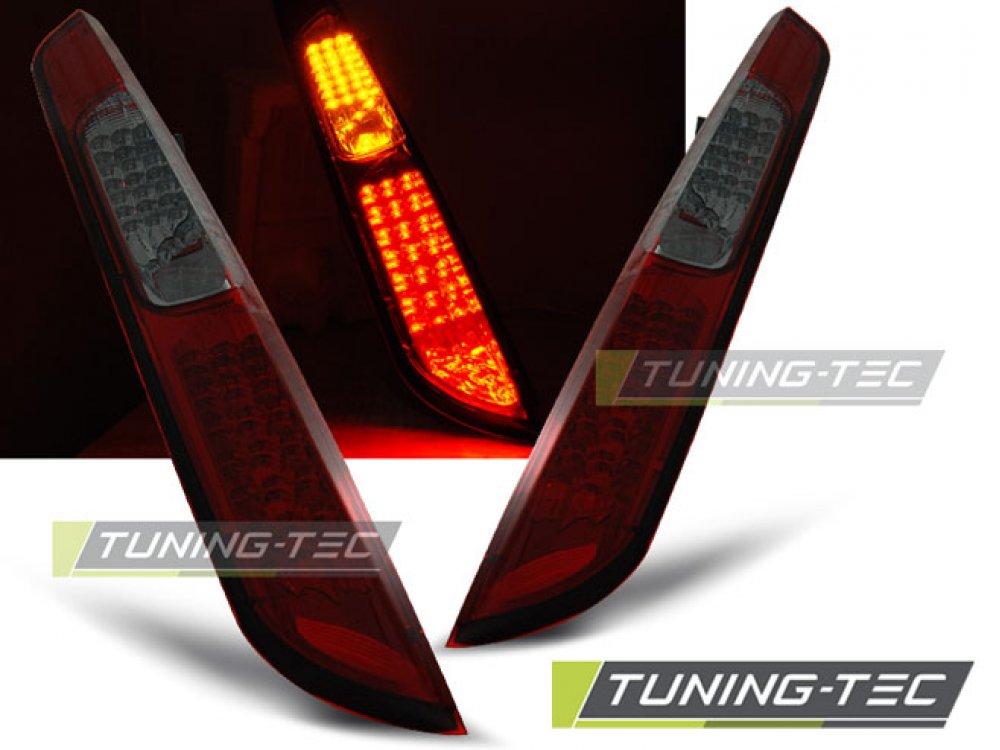 Задние светодиодные фонари красные тёмные от Tuning-Tec на Ford Focus II Hatchback рестайл