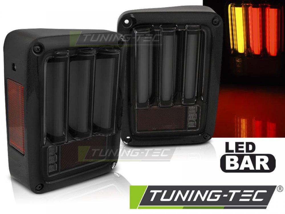 Задние тюнинговые фонари LEDBar тёмные чёрные для Jeep Wrangler JK