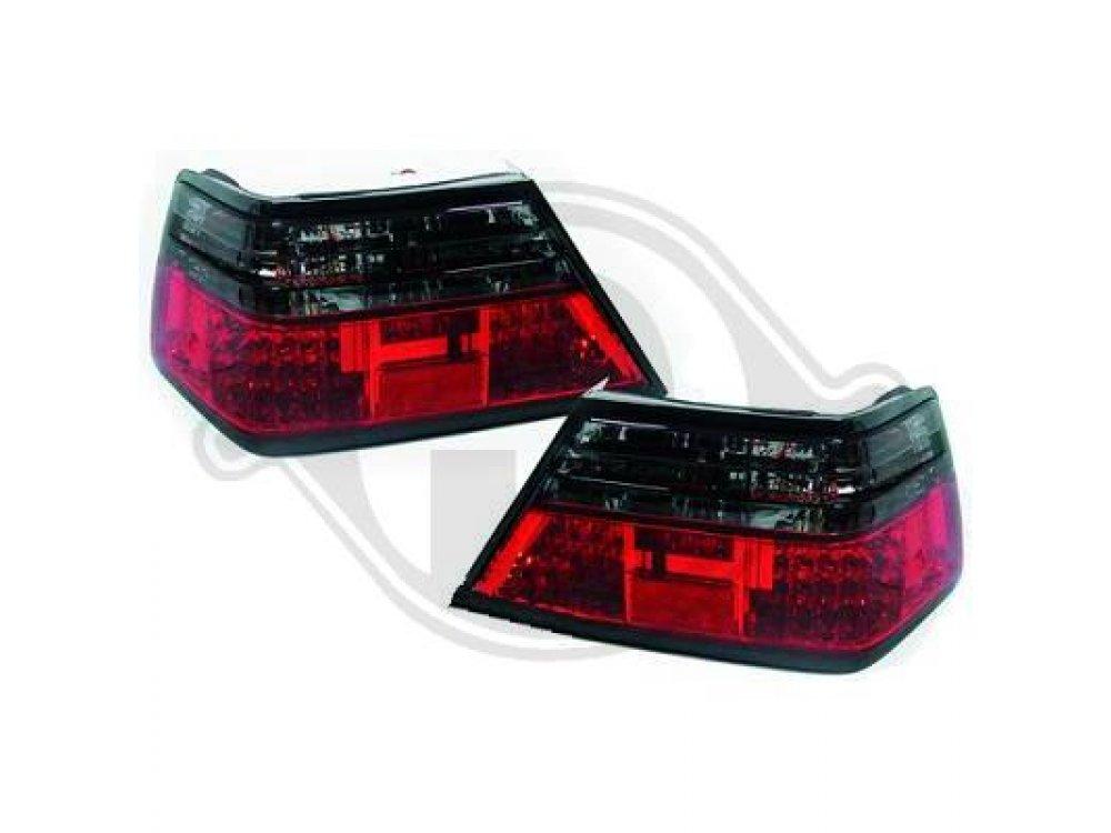 Задние светодиодные фонари красные тёмные от HD на Mercedes E класс W124