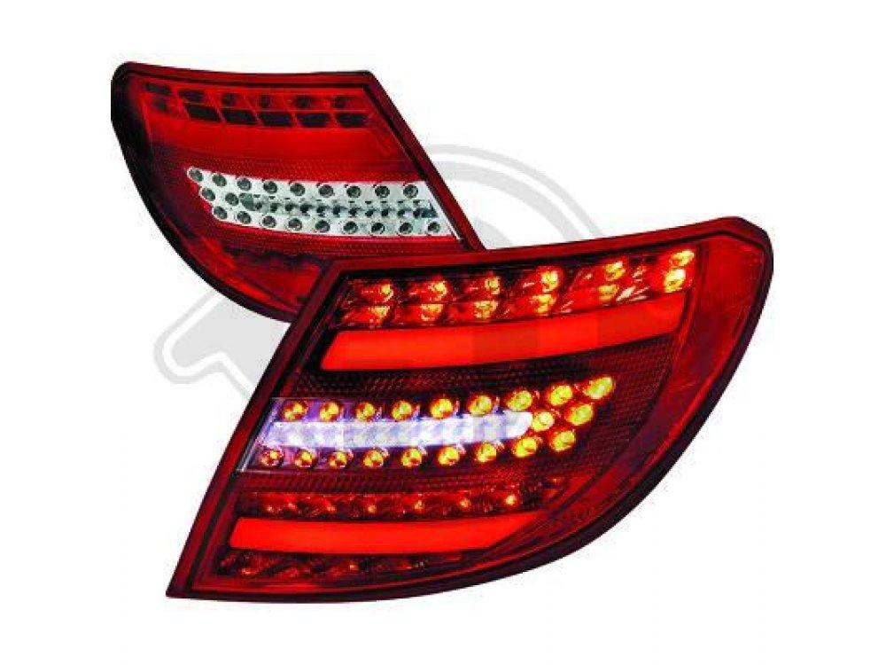 Задние диодные фонари Full Led Red Crystal на Mercedes C класс W204