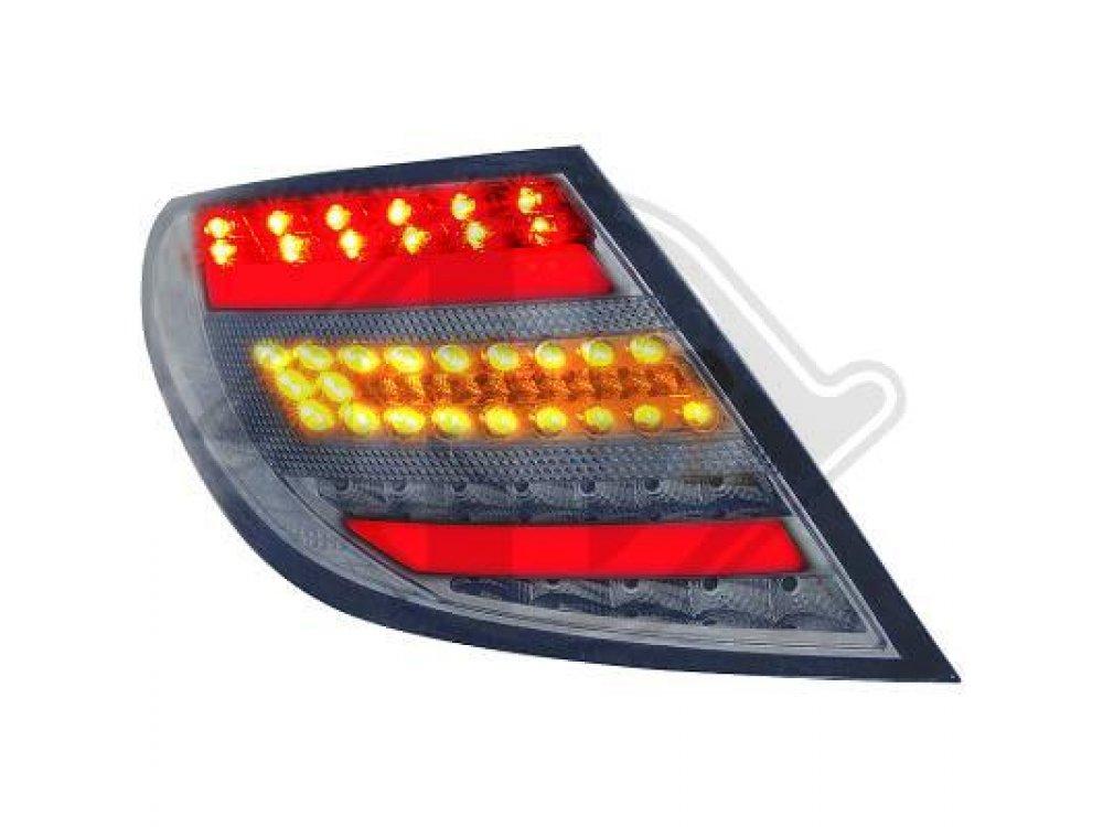 Задние диодные фонари Full Led Dark Chrome на Mercedes C класс W204