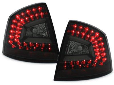 Задние фонари Litec LED Black Smoke на Skoda Octavia II 1Z Limousine